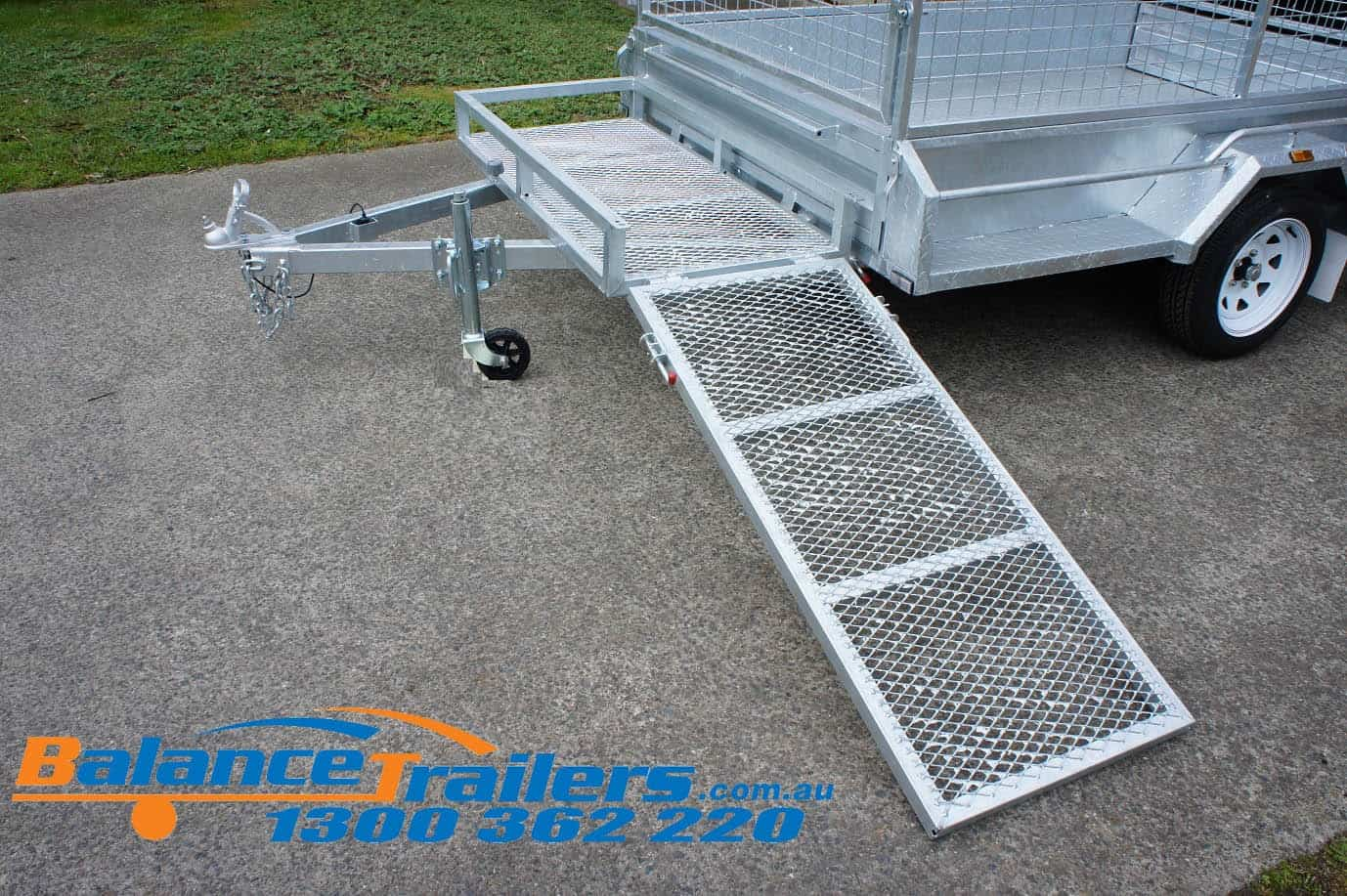 Galvanised Lawn Mower Box Frame on Trailer Draw Bars